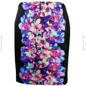 EXPRESS FLORAL PRINT BODYCON PENCIL SKIRT XS 00